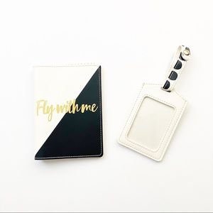Accessories - White Black and Gold Passport and Luggage Tag
